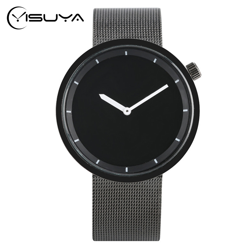YISUYA Fashion Casual Men Watch Analog Quartz Shark Black Stainless Steel Mesh Band Creative Wrist Watch Minimalist Male Relogio bgg brand creative two turntables dial women men watch stainless mesh boy girl casual quartz watch students watch relogio