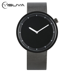 YISUYA Fashion Casual Men Watch Analog Quartz Shark Black Stainless Steel Mesh Band Creative Wrist Watch Minimalist Male Relogio
