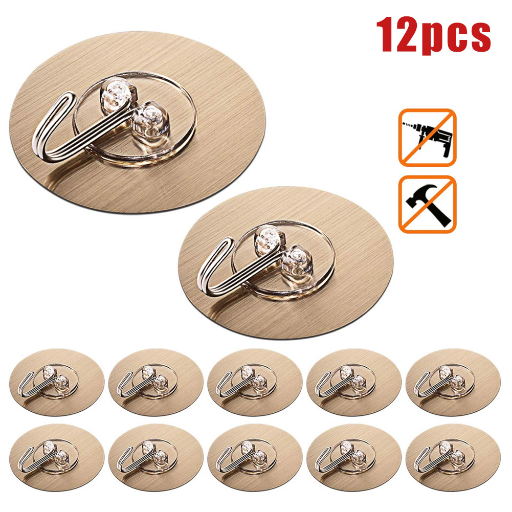 12Pcs Self Adhesive Wall Hooks Round Seamless Nail Free Towel Hooks For Kitchen Bathroom 669