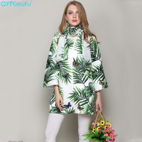 QYFCIOUFU High Quality Long Sleeve Woman Winter Coats And Jackets Luxury Runway Maple Leaves Printed Round