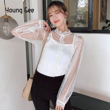 Young Gee Spring Women Lace Floral Embroidery Blouses Shirt Sexy Mesh Tops See-through Long Sleeve Shirts blusa camisas mujer