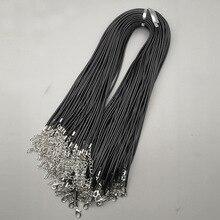 Groothandel 2mm karabijn black Wax Lederen koord ketting touw hanger Lange 45CM 100 stks/partij sieraden Onderdelen diy hangers gratis