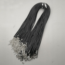 Wholesale 2mm Lobster clasp black Wax Leather cord necklace rope pendant Long 45CM 100Pcs/lot jewelry Parts diy pendants free