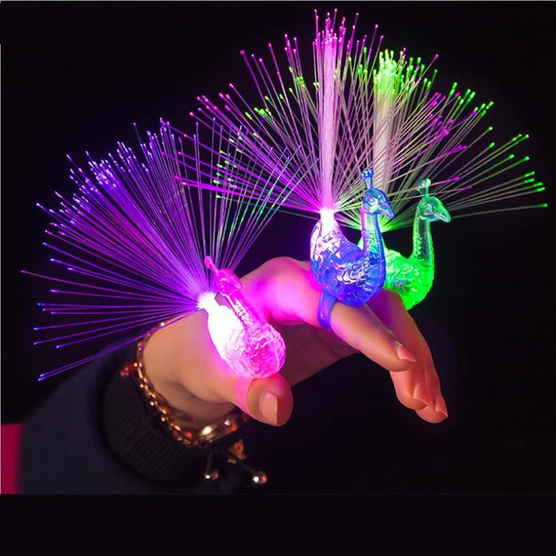 5pcs Hot peacock shape glowing finger ring LED Finger Light Laser Beams Ring luminous toys wedding decoration party supplies-in Glow Party Supplies from Home & Garden
