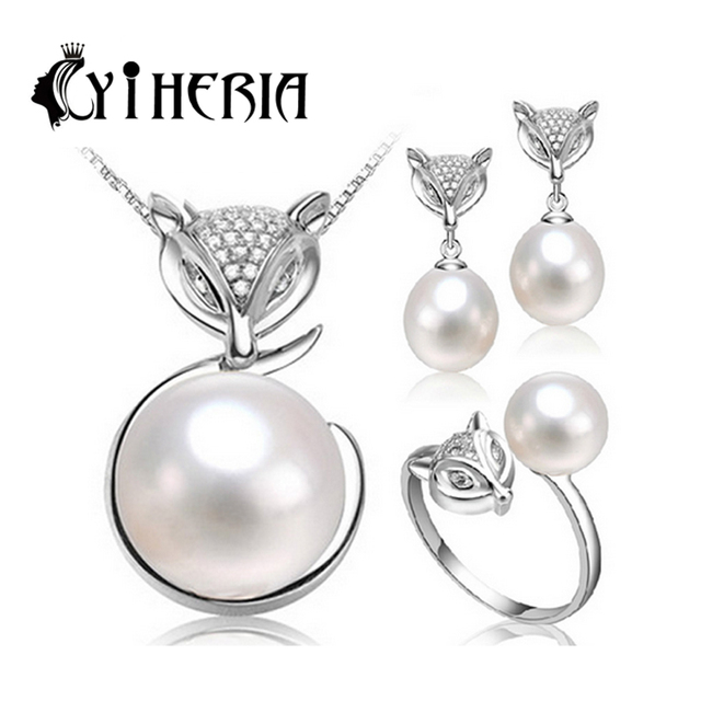 CYTHERIA  2016 new natural Pearl set, jewelry sets 925 silver pearl pendant necklace and earrings for women gift  3 color