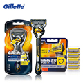 Genuine Gillette Fusion Proshield Shaver Shaving Razor Blades 1 Handle + 5 Blades For Men Brands Shavers Safety Razor