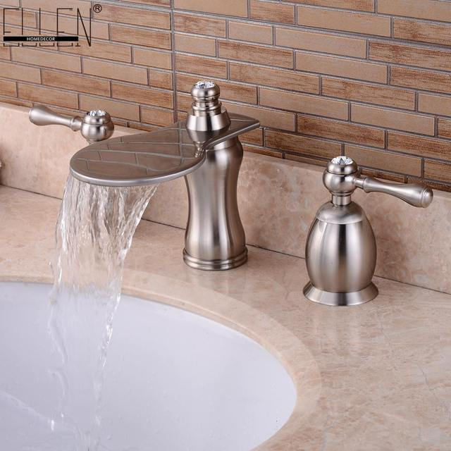 Bathroom Basin Sink Faucets Widespread Water Mixer Tap Brushed - Three hole bathroom sink faucets