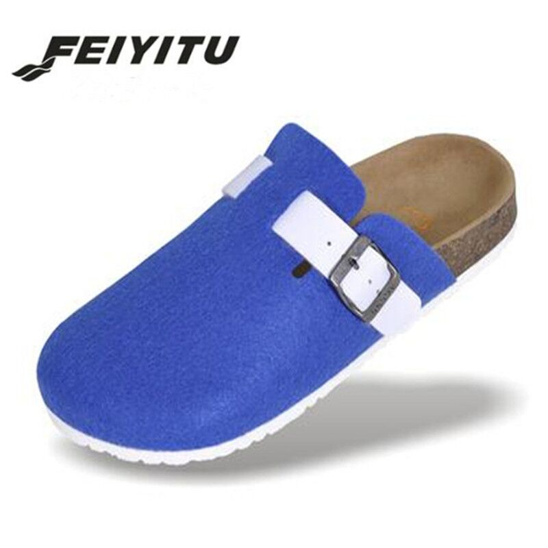 FeiYiTu New Women Cork Shoes Casual Sandals Flats Slides female Closed Toe Sandals Buckle Slippers Plus Size 36-44 Gray Black loft lsn 1003 03