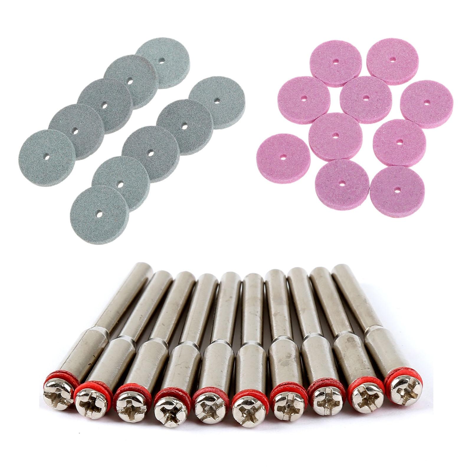 20Pcs Dremel Accessories 20mm Mini Drill Grinding Wheel/Buffing Wheel Polishing Pad Disc For Rotary Tools +10Pcs 3.175mm Mandrel