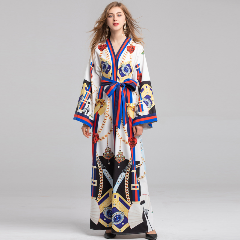 b157ec10ee4 Imprimé À Vintage Automne Longue Boho Ceinturé Manches Robe Vacances Haute  Femmes De Longues Robes cou ...