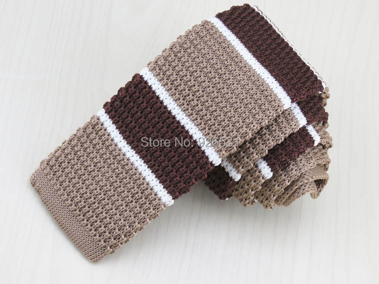 Light Brown And Coffee Color Stitching White Horizontal Stripes Knit Tie  Restoring Ancient Ways Style Flat Tie