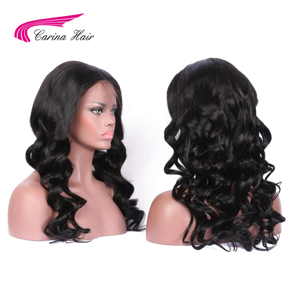 Carina Hair 130% Density Brazilian Body Wave Natural Color Full Lace Human Hair Wigs For Black Women with Baby Hair