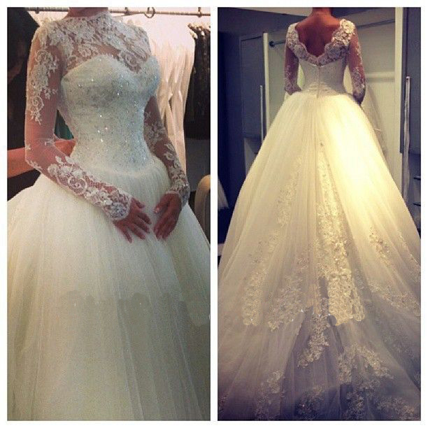 Elegant Vestido De Noiva High Neck Long Sleeves Beaded Lace Ball Gown Muslim Wedding Dresses 2014 Spring Gowns - Abby's Bridal Studio store