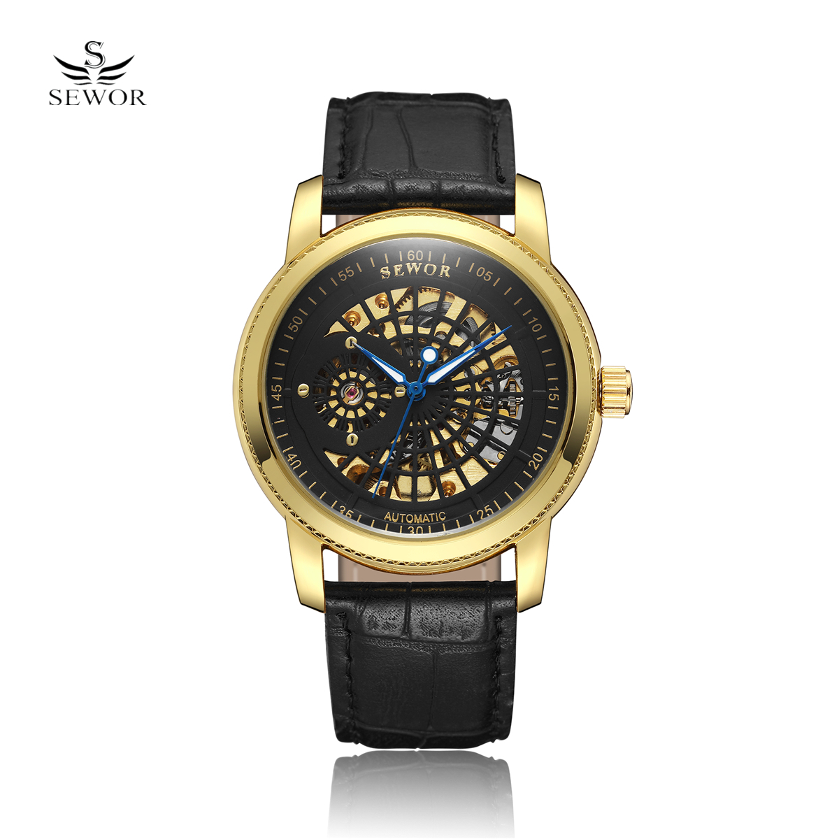 New SEWOR Fashion Black Golden Star Luxury Design Clock Mens Watch Top Brand Luxury Mechanical Skeleton Watch Male Wrist Watch new arrival silver transparent skeleton open face design pocket watch women mens gift clock with 30cm chain p1038c