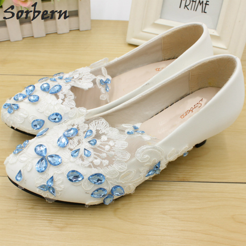 Sorbern Ice Blue Crystal White Lace Flower Wedding Shoes Low Heels Shoes Women 2018 New Slip On Luxury Designer Shoes For Ladies