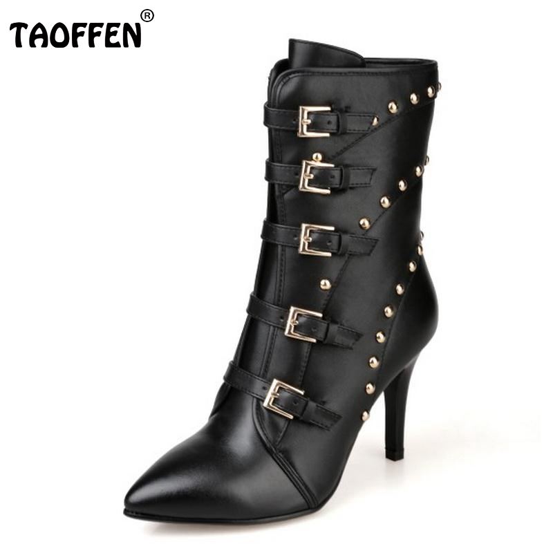 Women Ankle Boots Women Natural Real Leather Pointed Toe Sexy Rivets High Heels Lace Up New Winter Boots Women Shoes Size 34-40 fashion women mixed color sandals sexy pointed toe high heels shoes ankle strap rivets patent leather sandal plus size smybk 045