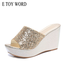 E TOY WORD Women slippers summer sequined wedges Platform Sandals and high-heeled casual non-slip shoes