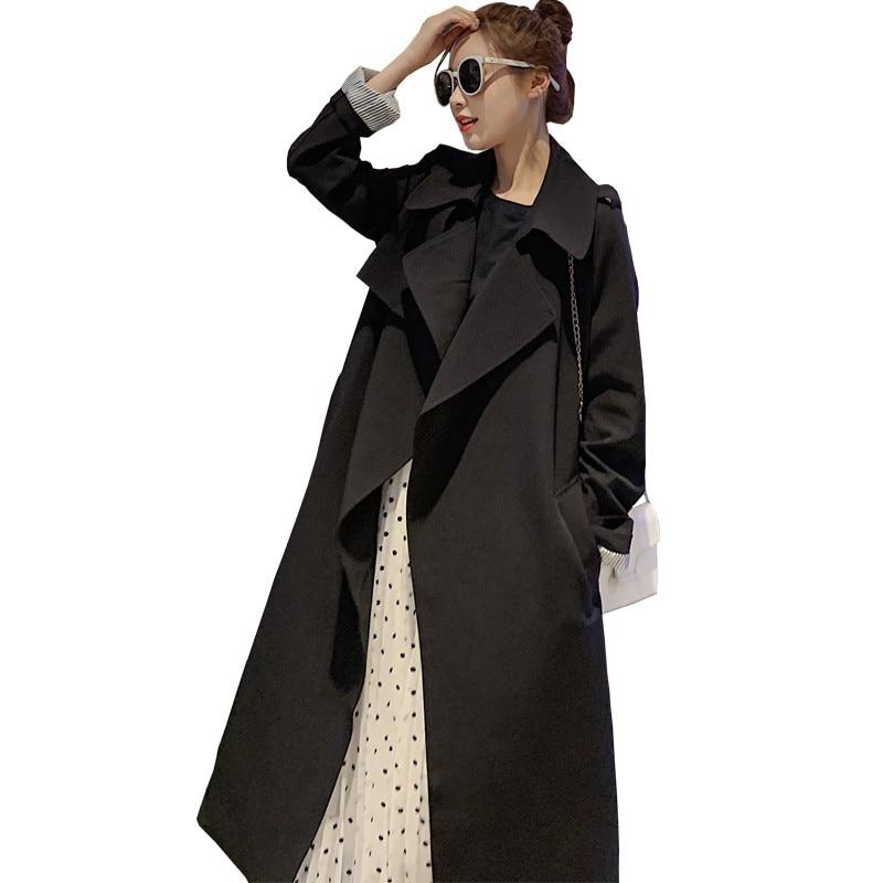 2019 New Spring Autumn Fashion Female Windbreaker Long   Trench   Coat Women Korean Loose Casual Cardigan Ladies Belt Outerwear M56