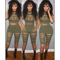 2016 new summer fashion womens rompers and jumpsuits sexy skinny solid armygreen hollow out bodysuits elegant rompers mq