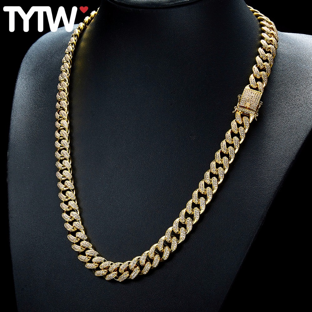 TYTW Hiphop HOT Men Necklaces with Gold Rhodium High Quality Fashion Jewelry Zircon Youtube Hot Design man Choker Necklaces