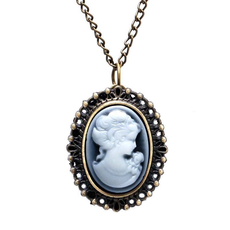 Fashion Vintage Lady Gentlewoman Shape Design Small Quartz Pendant Fob Pocket Watch With Sweater Necklace Chain Gift To Women