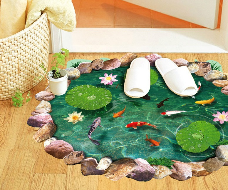 Free shipping new cartoon goldfish lotus bedroom living room wall stickers removable waterproof toilet