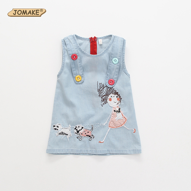 Cartoon Embroidery Denim Girls Dress Summer Style Cute Baby Girl Jean Sleeveless Dresses Casual Kids Clothes Children's Clothing