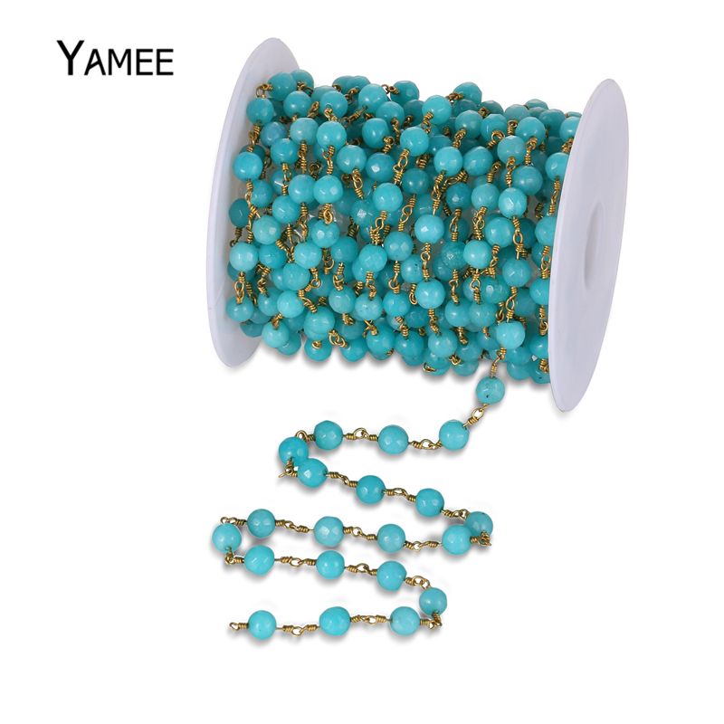 6mm Faceted Round Beads Colour Jades Chains Sea Blue Stone Pure Copper Wire Wrapped Beads Rosary Chains Jewelry Supplies 5meters 6mm cross gold copper wire wrapped multi color turquoises round howlite rosary chains crafts bracelet necklace bulk bh12