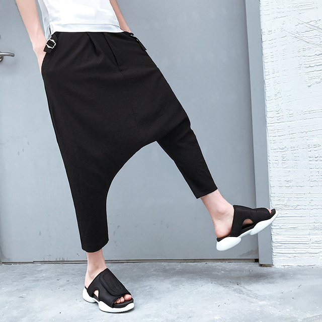 cd60683ddbec NEW men s Trend relaxed loose pants hip-hop leisure Haren eight points pants  personality small night shop hairstylist clothing