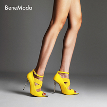 pointed toe open stiletto heel new style summer yellow ankle buckle strap chic ladies sandal  genuine leather shoes