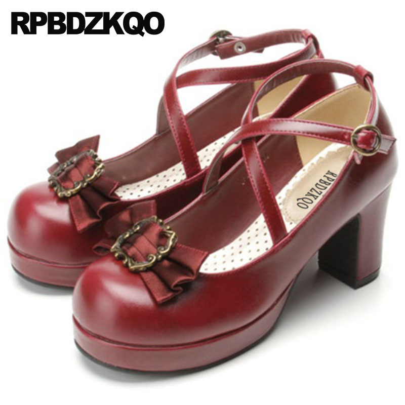 3 inch chunky 11 43 bow navy blue pumps 12 44 high heels round toe lolita shoes japanese big size women wine red cross strap