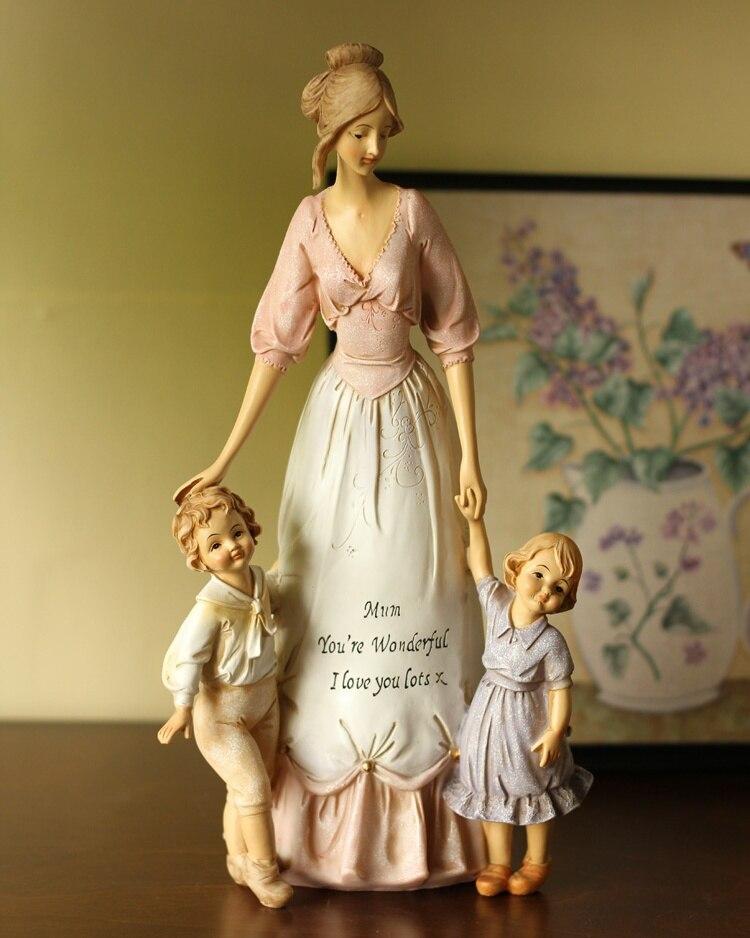 Mère chaleureuse et enfants Sculpture cadeau et artisanat embellissement ornement accessoires pour la décoration de la maison et la fête des mères
