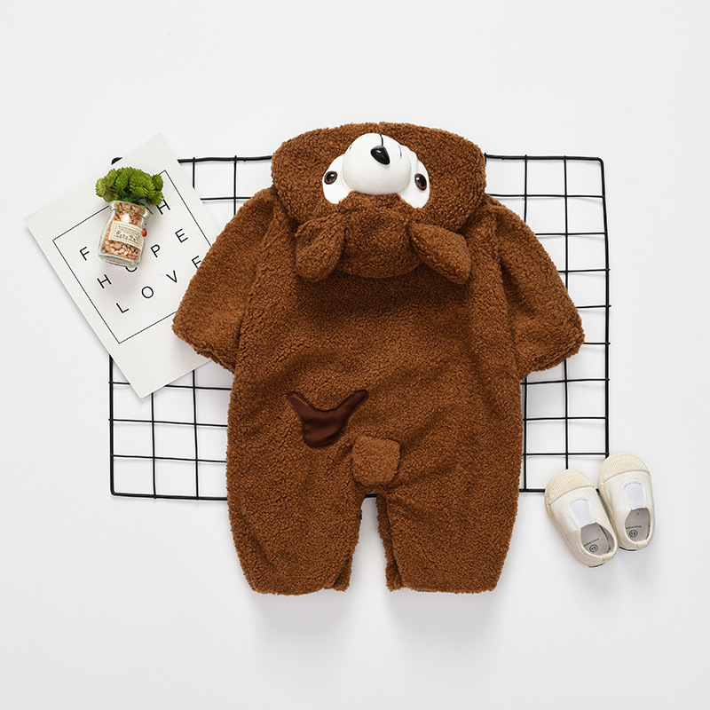 New Babies Newborn Baby Clothes Bear Onesie Baby Girl Boy Rompers Hooded Plush Jumpsuit  ...