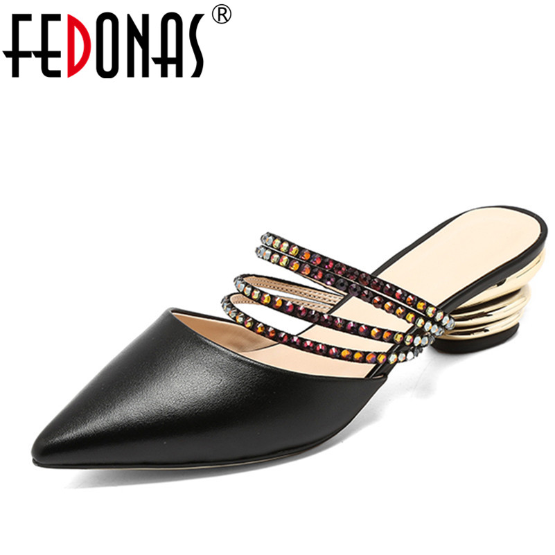 FEDONAS 2018 Women Pumps Fashion Genuine Leather Shoes Woman High Quality High Heels Glitters Wedding Party Shoes Summer Sandals fedonas new women gladiator sandals wedges high heel fashion ladies glitters wedding party shoes woman platforms summer sandals