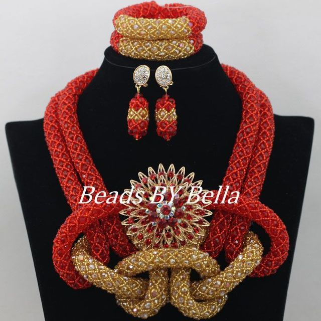 Amazing Red Gold African Wedding Beads Crystal Beads Costume Jewelry