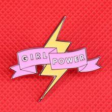 البرق بروش النسوية دبوس فتاة الطاقة شارة راية دبابيس لطيف مجوهرات هدايا للنساء قمصان سترة اكسسوارات