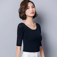 Camiseta de manga media Lisa para Mujer, ropa de calle Vintage de malla, para oficina, primavera y verano, T93413, novedad de 2019