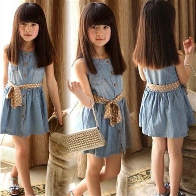 0ba2589852 Nuevo vestido de la muchacha vestido de mezclilla de verano para niñas  marca niños jeans vestidos