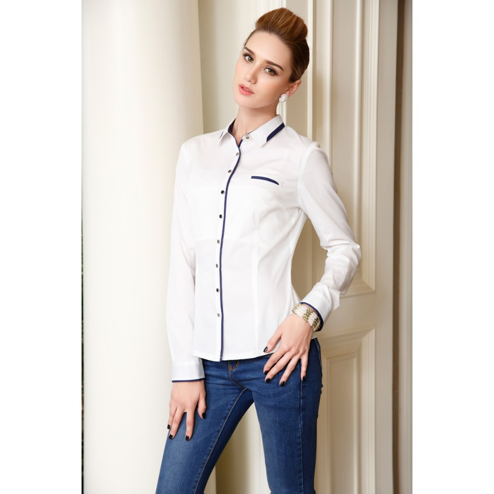 Autumn Formal White Shirts Women Long Sleeve Blouse Ladies