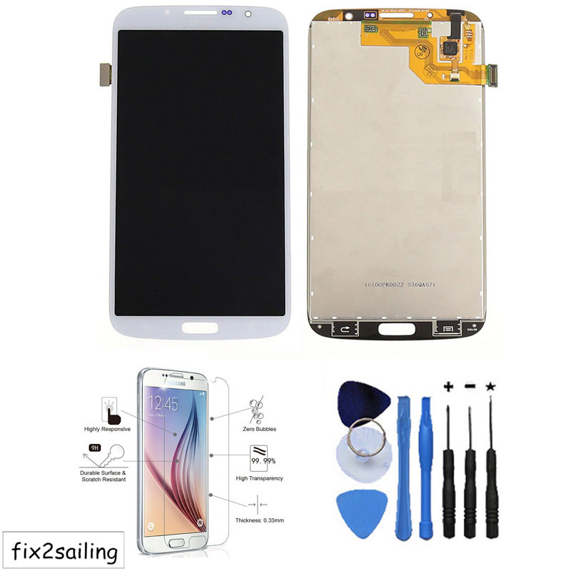 OEM 100% Test LCD Display Touch Screen Assembly part For Samsung Galaxy Mega 6.3 i9200 i9205 White+With free tools