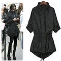 2016  Spring and Autumn Style   Slim Black Long Sleeve Pokets Women's Outwear Trench Coat Single Breasted Long  Trench