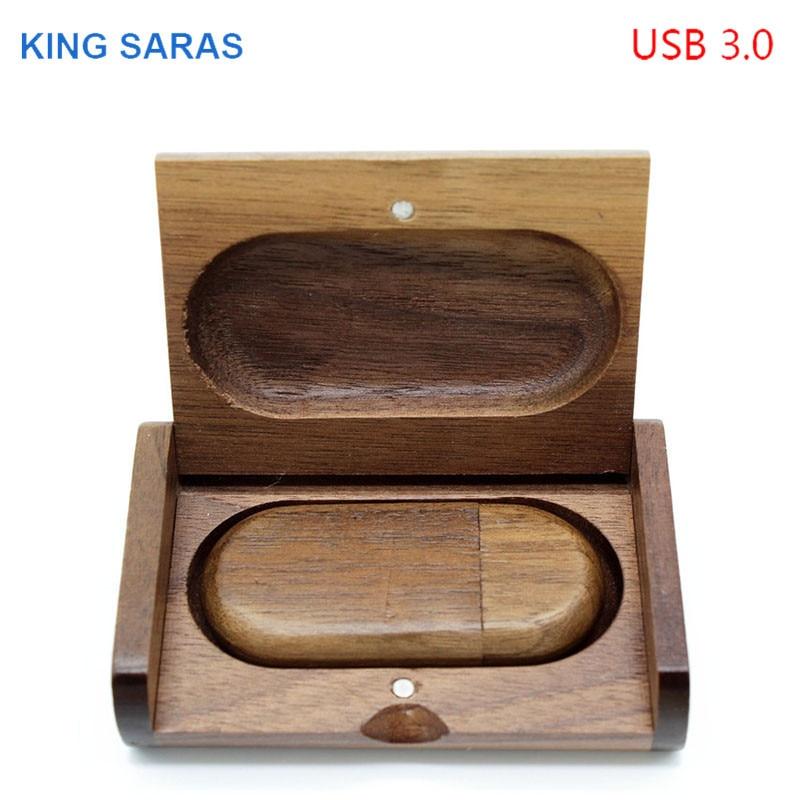 KING SARAS usb3.0 5 modelo de arce carbonizado de madera de nogal + caja usb flash pendrive 4 GB 8 GB 16 GB 32 GB Arce usb 3,0 de logotipo