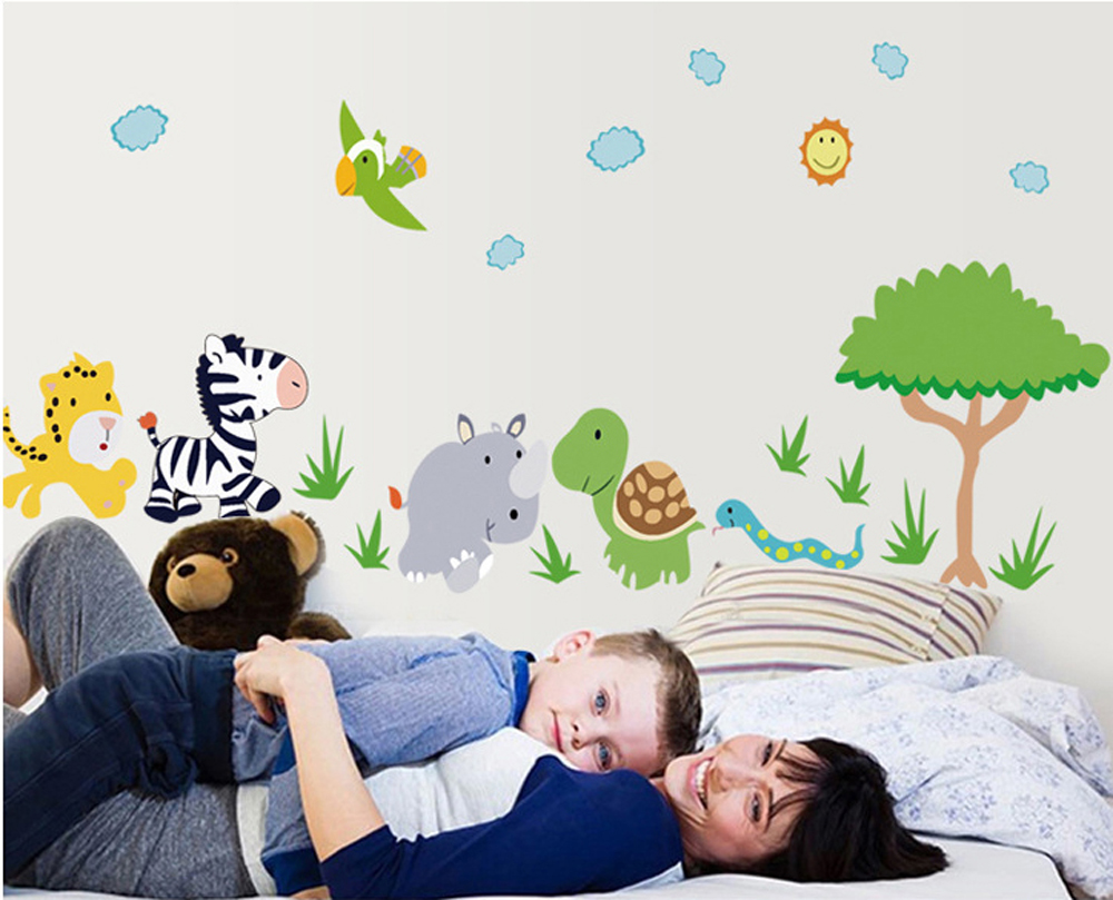 Cartoon cute tiger zebra tortoise hippo snake bird wall decals cartoon cute tiger zebra tortoise hippo snake bird wall decals childrens room nursery removable wall stickers murals in wall stickers from home garden amipublicfo Gallery