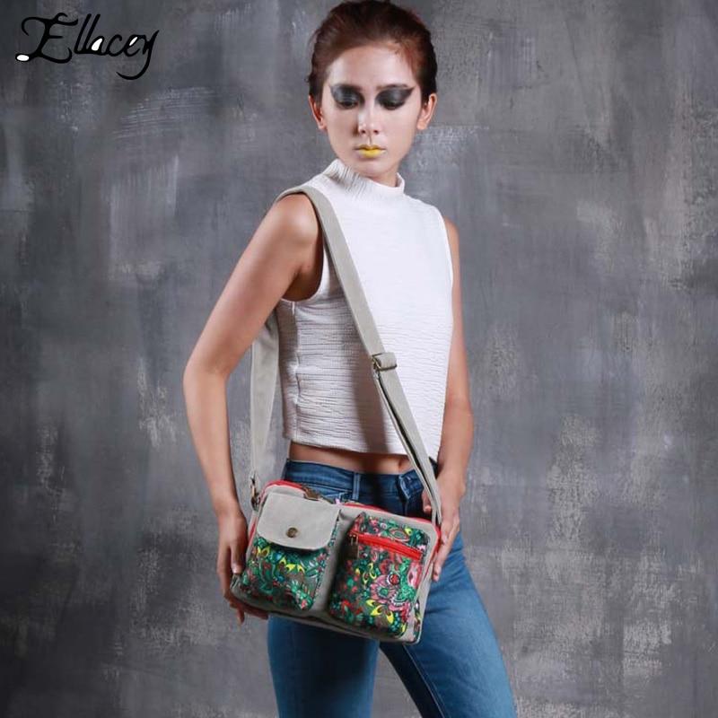 2016 European Style Begonia Printed Canvas Bag Design Women Messenger Bag With Print Vintage Women Crossbody Bag Shoulder Bag