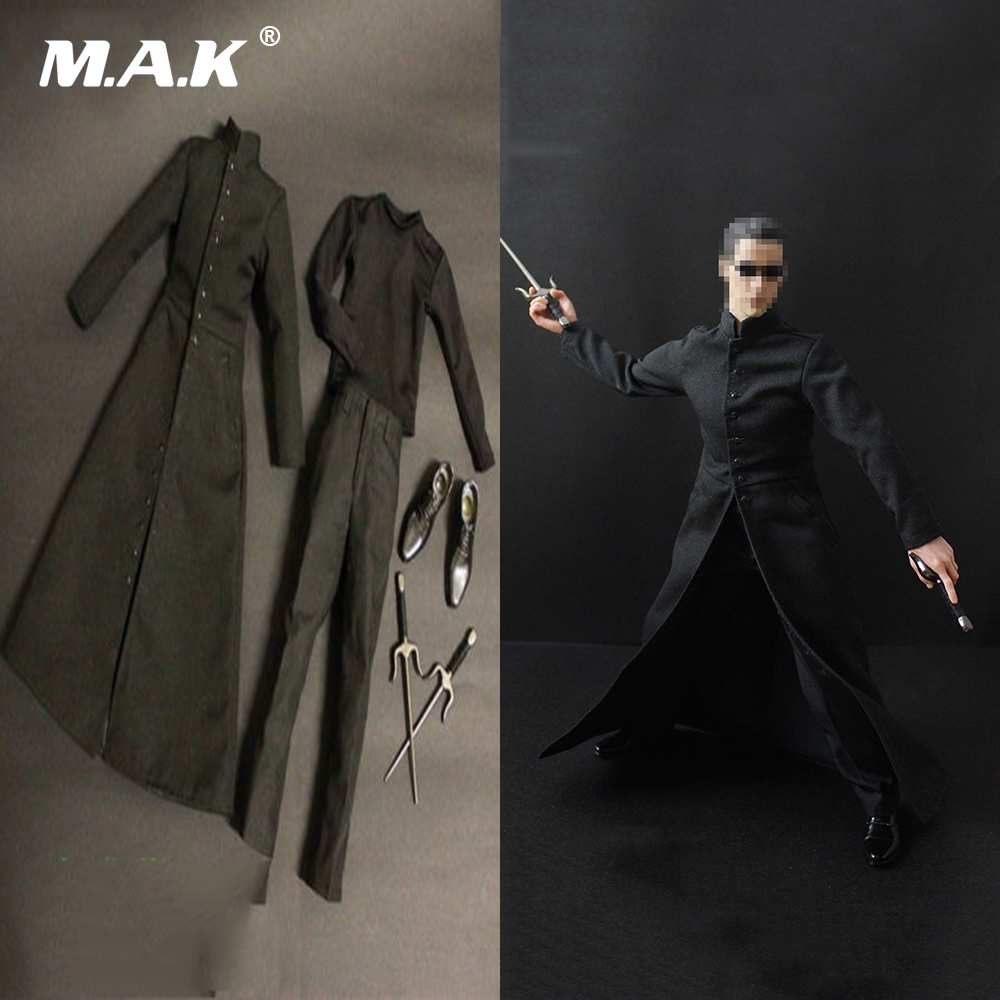 1/6 Scale Male Clothing 1:6 The Matrix NEO Keanu Reeves Black Coat Clothes Suits & Shoes for 12'' Action Figure 1 6 scale full set male action figure kmf037 john wick retired killer keanu reeves figure model toys for gift collections