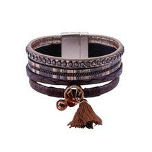 ALLYES Vintage Multilayer Tassel Charm Leather Wrap Bracelet For Women Femme Bohemian Wide Bracelets & Bangles Fashion Jewelry