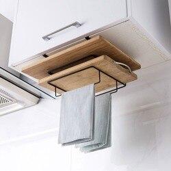 Otherhouse prateleira de armazenamento da cozinha rack placa corte titular prato pano pano pano titular armário pendurado prateleiras ferro organizador cozinha