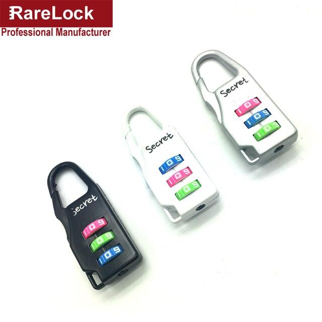 Rarelock MMS442 Combinação Cadeado 3 Homens Mulheres Viajar Mochila Bolsa de Bloqueio do Código de Cor Caixa de Presente de Casamento DIY Gabinete b1