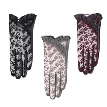 New Lace Genuine Leather Gloves Female Driving Sunscreen Touchscreen Sheepskin Fashion Elegant Women Mittens NS111