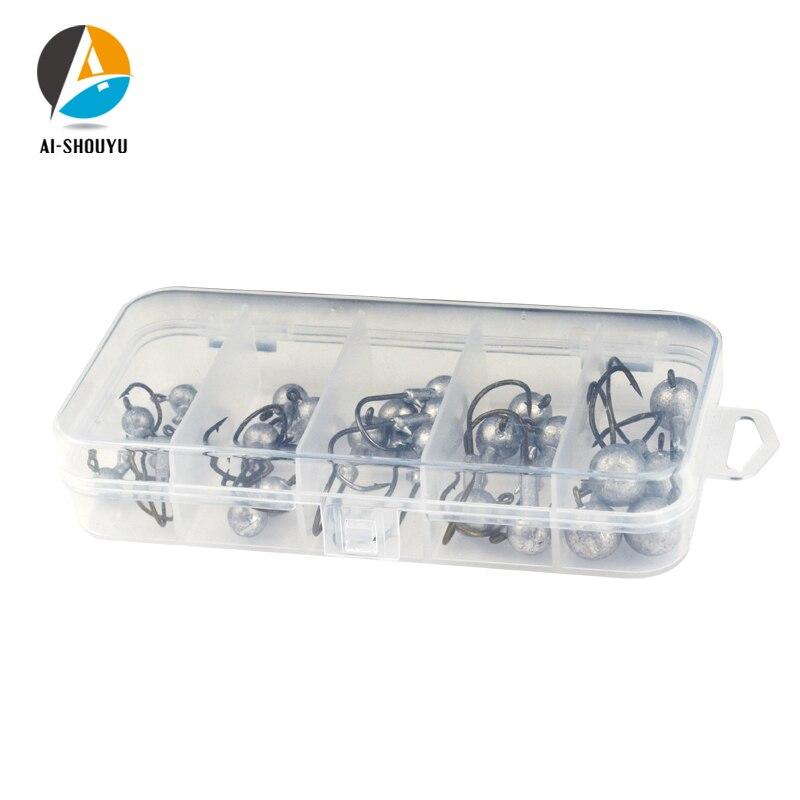 AI SHOUYU 25pcs box Fishing Hook Set 2g 10g Lead Jig Head Fishhooks with Lure Hard